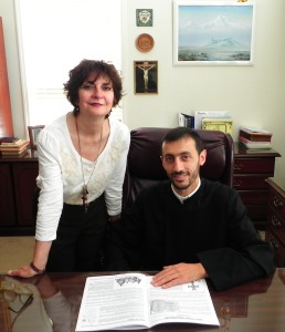 Pastor Fr. Hakob Gevorgyan with Nancy Basmajian, the Director of the parish's Adult Christian Education program.