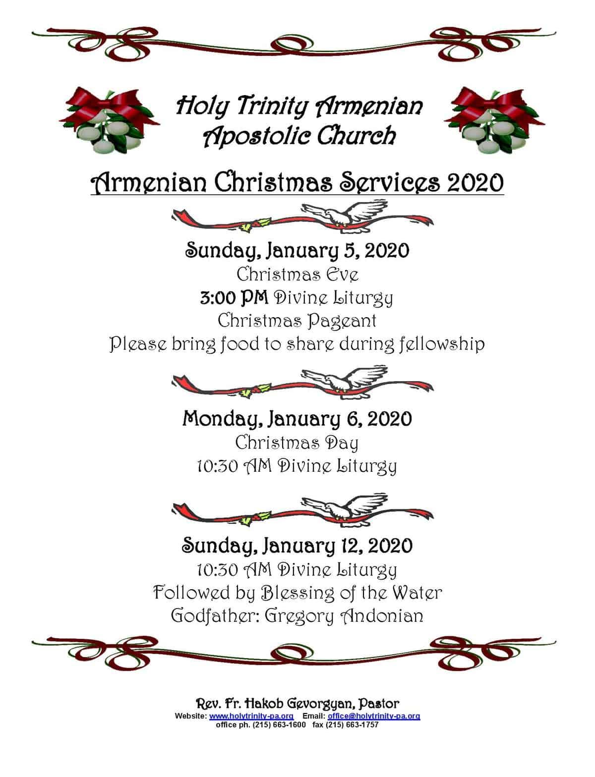 Christmas Sunday 2020 Armenian Christmas 2020 | Holy Trinity Armenian Church